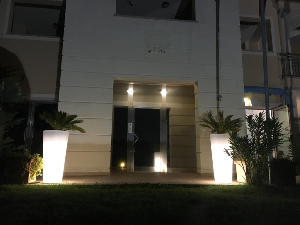 Beleuchtete Blumentöpfe sorgen für Akzente in Eingangbereichen