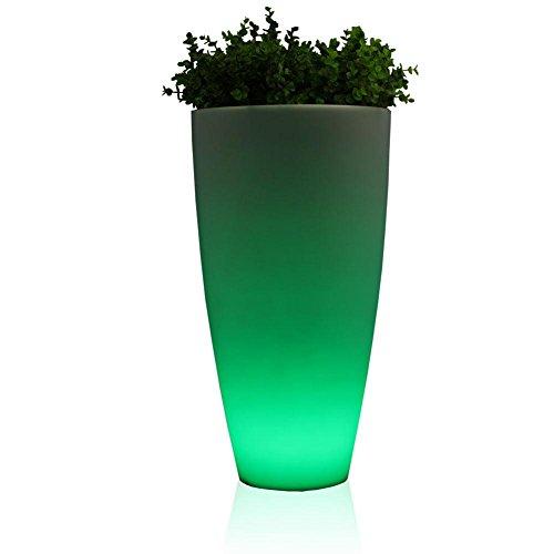 Leucht-Pflanzkübel TUBO LUZ 80, LED RGB beleuchtet grün