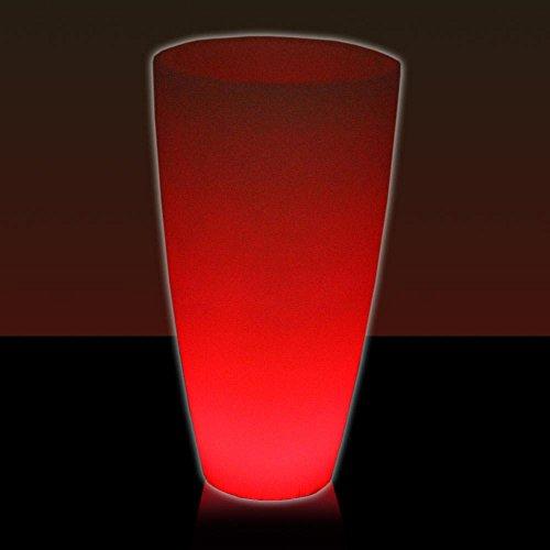 Leucht-Pflanzkübel TUBO LUZ 80, LED RGB beleuchtet rot