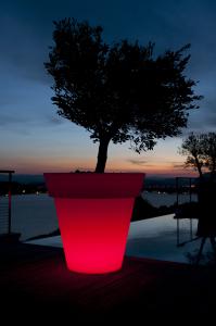 Lichtakzente im eigenen Garten, Wohnung oder Geschäften setzen mit beleuchteten Blumentöpfen