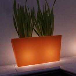 pflanztrog beleuchtet orange eckig sichtschutz