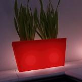 stilo beleuchteter pflanztopf eckig rot kunststoff