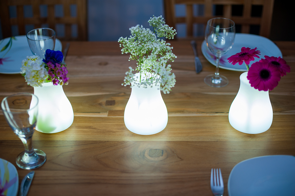 Leuchtvase Olio Smart an Green LED